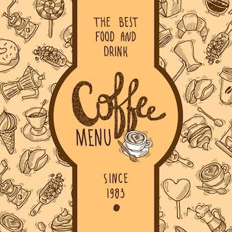 Etykieta menu kawy