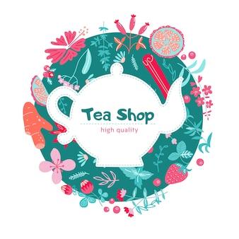 Etykieta menu ze składnikami herbaty ziołowej