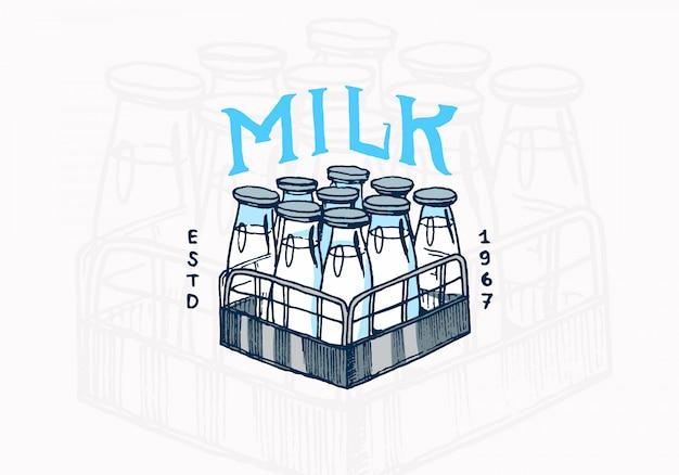 Etykieta mleka. logo vintage butelki dla sklepu.