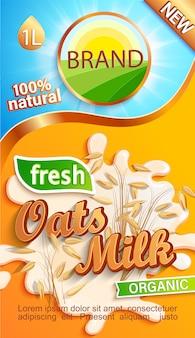 Etykieta mleka owsianego dla twojej marki. naturalny i świeży napój, płatki zbożowe w odrobinie mleka.