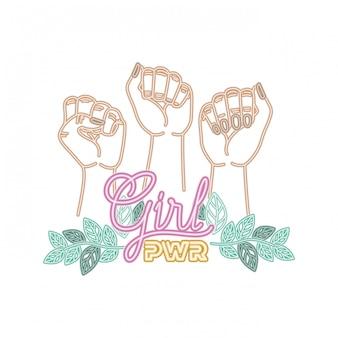 Etykieta mocy dziewczyna z rąk w ikony sygnału walki
