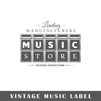 Etykieta muzyczna na białym tle