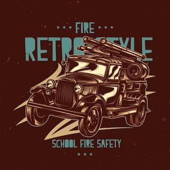 Etykieta na koszulkę z ilustracją przedstawiającą zabytkowy wóz strażacki.