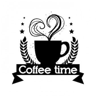 Etykieta na pyszne filiżanki kawy