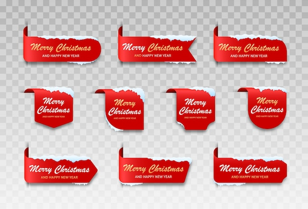 Etykieta na wesołych świąt ze śniegiem modny i prosty zestaw kartek świątecznych
