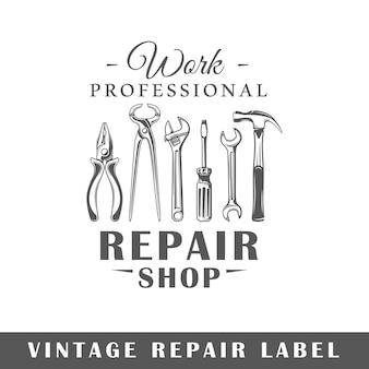 Etykieta naprawy na białym tle. element projektu. szablon logo, oznakowania, brandingu.