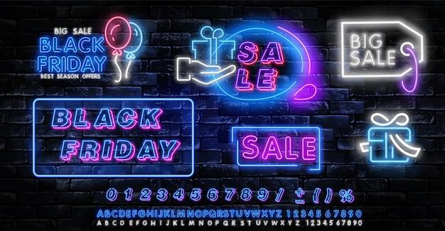 Etykieta neonowa czarny piątek. zestaw na białym tle neon znak na czarny piątek.