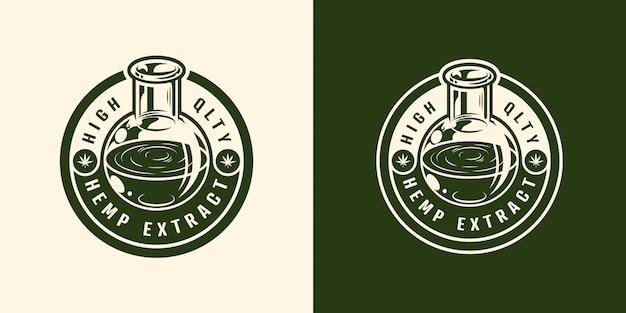 Etykieta oleju konopnego w szklanej tubie