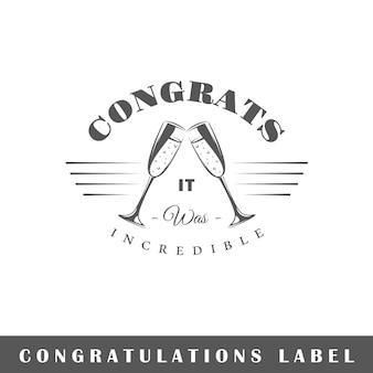 Etykieta ongratulation na białym tle