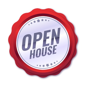 Etykieta open house w płaskiej konstrukcji