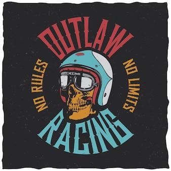 Etykieta Outlaw Racing Darmowych Wektorów