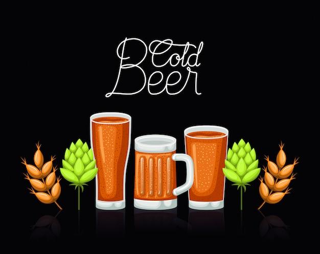 Etykieta piwa happy hour ze szklankami i słoikiem