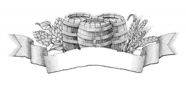 Etykieta piwa ręcznie rysunek styl vintage grawerowanie na białym tle