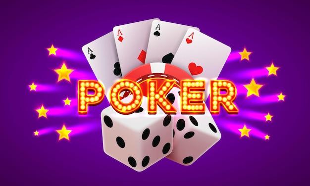Etykieta pokera, szyld banner kasyna na fioletowym tle. ilustracja wektorowa
