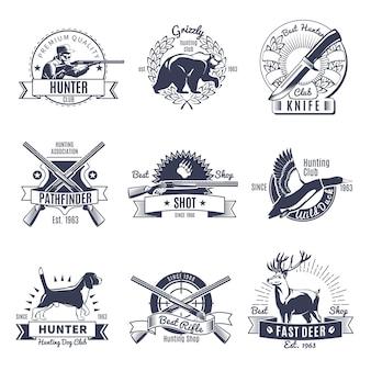 Etykieta polowania w stylu vintage