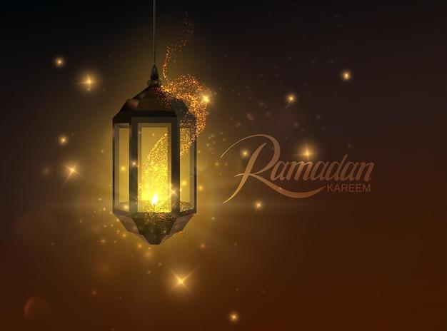 Etykieta ramadan kareem oraz świecąca arabska latarnia i iskry