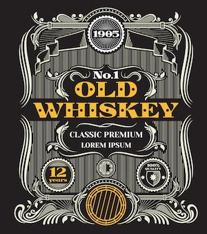 Etykieta retro wiktoriańskiej whisky