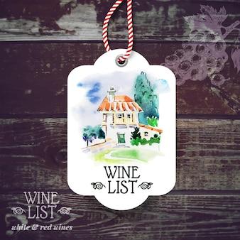 Etykieta rocznika wina. ręcznie rysowane akwarela ilustracja. drewniane tło wektor ze szkicem