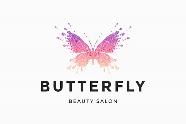 Etykieta salonu piękności butterfly