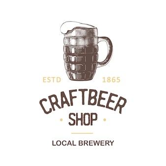 Etykieta sklepu z piwem vintage