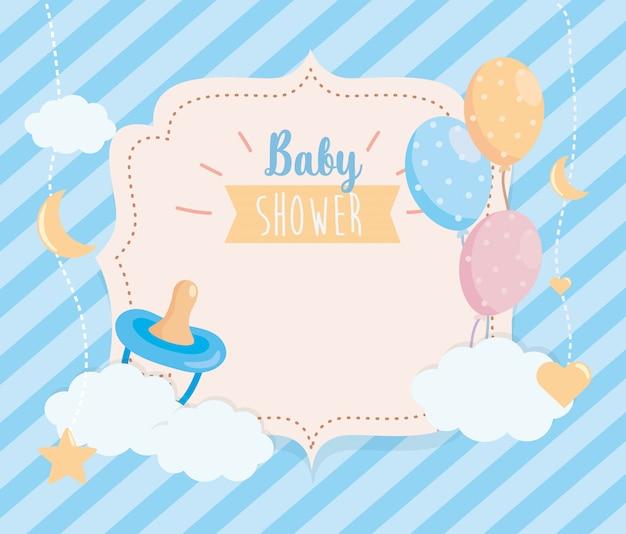 Etykieta smoczka z balonami i dekoracjami chmur