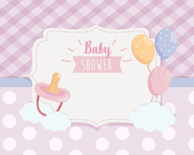 Etykieta smoczka z balonami i dekoracji wstążki
