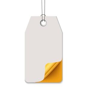 Etykieta sprzedaży, realistyczna wektorowa papierowa etykieta z zakrzywionym rogiem. wisząca przywieszka sprzedażowa