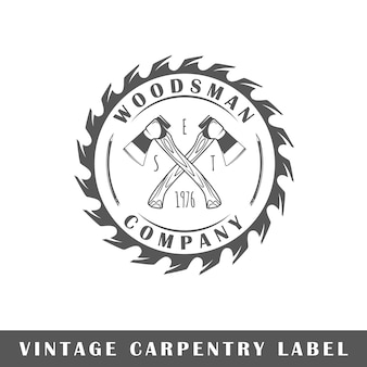 Etykieta stolarska na białym tle. element. szablon logo, oznakowania, marki. ilustracja