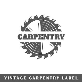 Etykieta stolarstwo na białym tle. element projektu. szablon logo, oznakowania, brandingu.