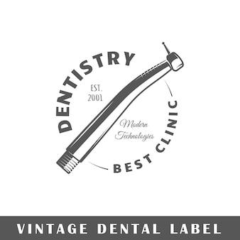 Etykieta stomatologiczna na białym tle