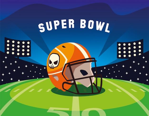 Etykieta super bowl ze stadionem piłkarskim i kaskiem