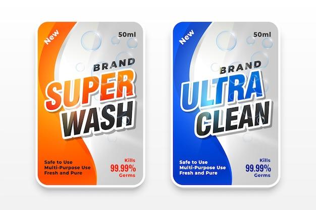 Etykieta super prania i ultra czystego detergentu