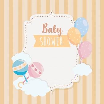 Etykieta szczęk i balonów z dekoracją wstążki