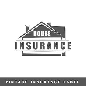 Etykieta ubezpieczeniowa na białym tle. element projektu. szablon logo, oznakowania, brandingu.