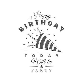 Etykieta urodzinowa na białym tle