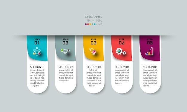 Etykieta użycia kroków w celu wyjaśnienia i wyświetlenia wyników, biznesu, marketingu. .