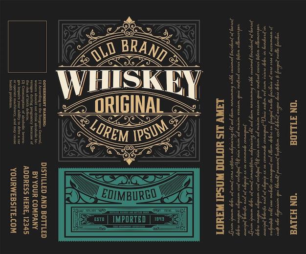 Etykieta viintage. ozdobny szablon logo dla etykiety tequili, whisky, napojów spirytusowych.