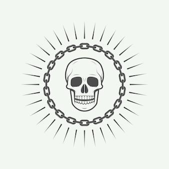 Etykieta vintage czaszka, godło i logo. ilustracja wektorowa