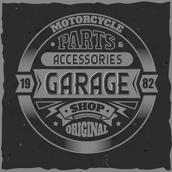 Etykieta vintage garaż z kompozycją napisów