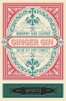 Etykieta vintage gin.