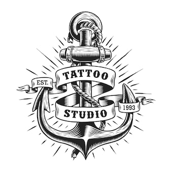 Etykieta vintage tatuaż morski