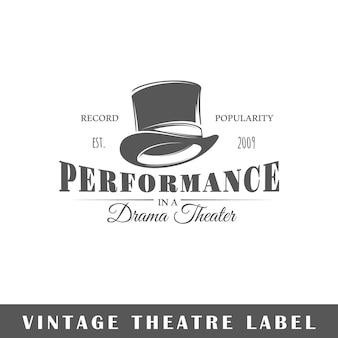 Etykieta vintage teatr na białym tle. szablon logo