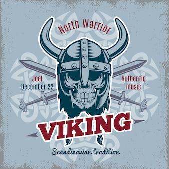 Etykieta vintage viking