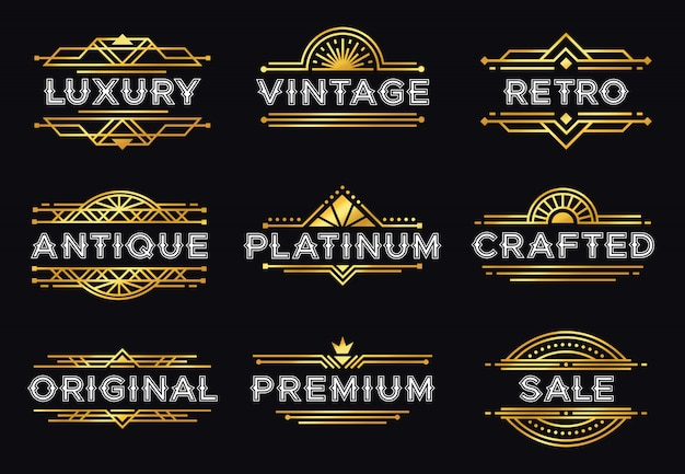 Etykieta w stylu art deco. retro luksusowe geometryczne ozdoby, rama vintage ornament i hipster dekoracyjne linie etykiety zestaw ilustracji