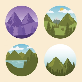 Etykieta wanderlust z krajobrazami ustawia sceny
