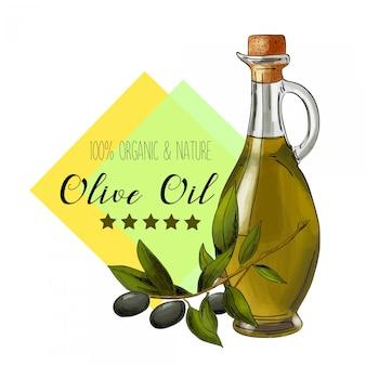 Etykieta wektor oliwy z oliwek. elegancki design do pakowania oliwy z oliwek.