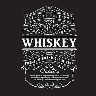 Etykieta whisky vintage ręcznie rysowane ornament typografii