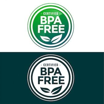 Etykieta wolna od bpa w zielonym i płaskim stylu