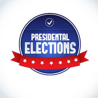 Etykieta wyborów prezydenckich w usa w 2016 r. z czerwoną wstążką na białym płaskim
