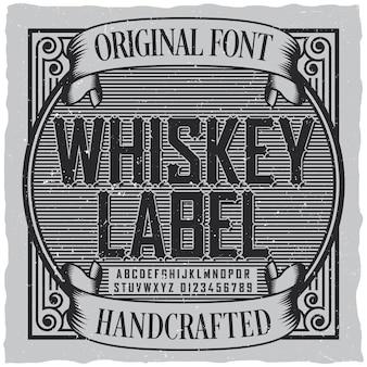 Etykieta z czcionką etykiety whisky